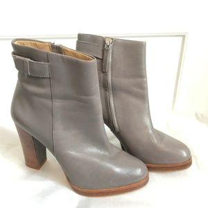 Zara Woman Grey Boots Heel Ankle Booties Heels 37